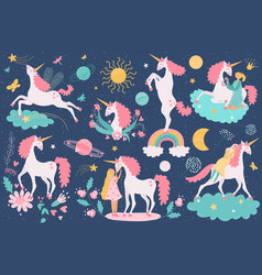 unicorn magical horse fantasy animal and girl vector image