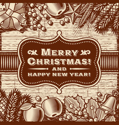 Vintage merry christmas card brown vector