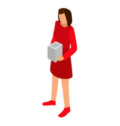 woman red dress icon isometric style vector image