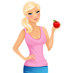 woman with apple vector image