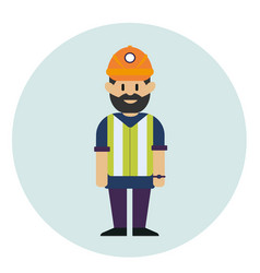 working man in helmet and reflective waistcoat vector image