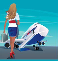 Young adult woman walks to the passenger plane vector