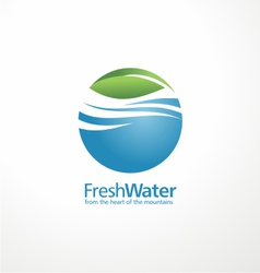 Fresh water and leaf creative logo design template vector image vector image