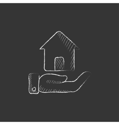 House insurance Drawn in chalk icon vector image