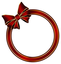 Red frame ring with silk bow vector image vector image