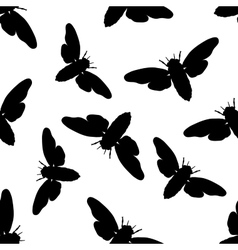 Seamless pattern with cicada Cicadidae vector image