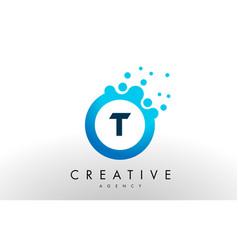 t letter logo blue dots bubble design vector image