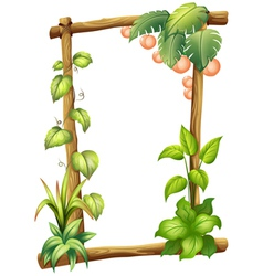 A frame made of woods with plants vector image vector image