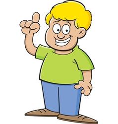Cartoon boy pointing vector image vector image