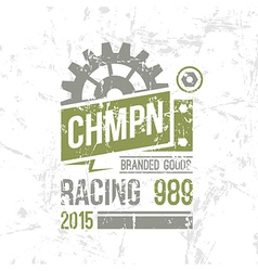 Emblem racing championship in retro style vector image vector image