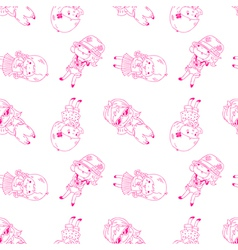 Seamless background with cute girls vector image vector image