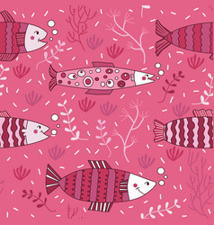 seamless pattern fish pink underwater doodle vector image