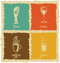 Set of Vintage cups Labels vector image vector image