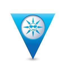 sun symbol map pointer blue vector image vector image
