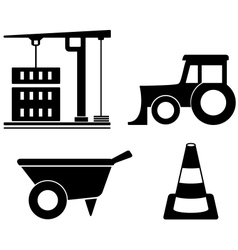 industrial set with construction objects vector image vector image
