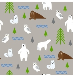 Polar animals on a gray background Seamless vector image