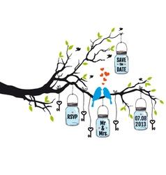 wedding invitation birds on tree with jars vector image vector image