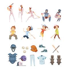 baseball cartoon retro style icons set vector image