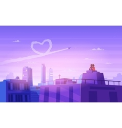 Boy and girl look over cityscape Romantic day vector image