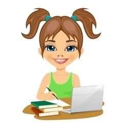 cute schoolgirl doing homework with laptop vector image vector image