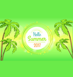 hello summer time banner in round frame vector image