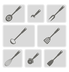icons with kitchen tools vector image vector image