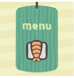 outline sushi rice roll with shrimp japan food vector image