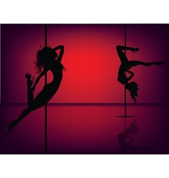 Pole dancers on red vector image