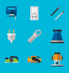 set of 9 editable instruments flat icons includes vector image vector image