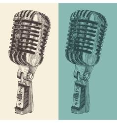 Studio Microphone Vintage Engraved Retro vector image