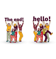 the end and hello sign team group business people vector image