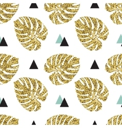 Tropical golden palm leaves seamless background vector image vector image