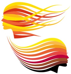 Woman head with hair colors vector image
