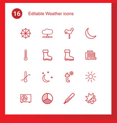 16 weather icons vector image