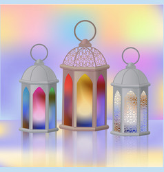 A set of arab lanterns with multi-colored glass vector