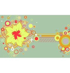 Abstract grunge flower theme with circles vector image