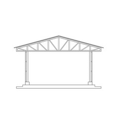 abstract outline drawing space frame structure of vector image
