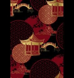 Alcove bridge maple circles japanese chinese vector
