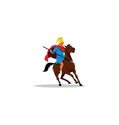 Ancient greek warrior on horseback preparing vector