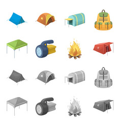 Awning fire and other tourist equipmenttent set vector