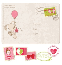 Bagirl greeting postcard with set stamps vector