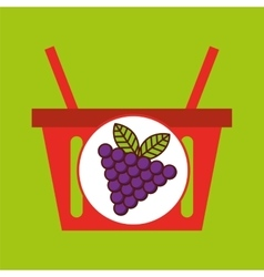 basket shopping grapes juicy fruit vector image