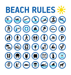 Beach rules icons set and sighns on white with vector