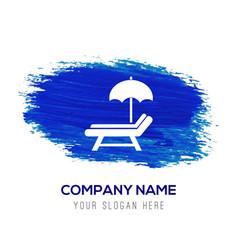 Beach umbrella and bed icon - blue watercolor vector