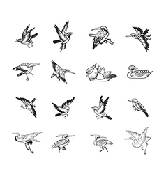 bird and duck chinese style black color vector image