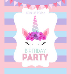 birthday party invitation with cute unicorn and vector image