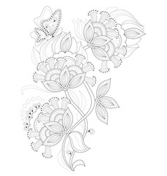black and white page for coloring fantasy drawing vector image