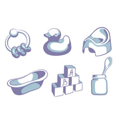 Blue childrens icons vector