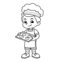 Boy baking chocolate cookies bw vector