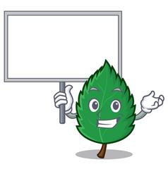 bring board mint leaves character cartoon vector image